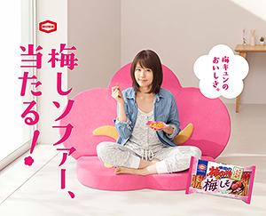 亀田製菓、「柿の種」キャンペーンで梅しソファー当たる