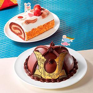 「かぶとケーキ」(下)と「そらおよぐ!こいのぼりロールケーキ」