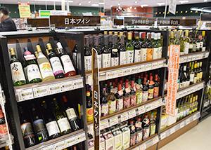 SMでは日本ワイン専用の棚も出てきている