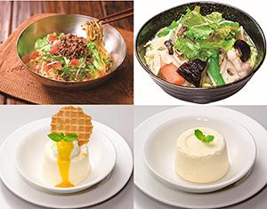 (右上から時計回りに)1日分の野菜のベジ塩タンメン、糖質控えめ・バニラアイスケーキ、マンゴーとマスカルポーネのバニラアイスケーキ、冷やしサラダタンタン麺