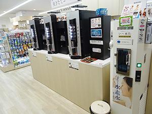 コーヒー、水素水は男性集客にも効果を発揮(ビビオン日本橋店)