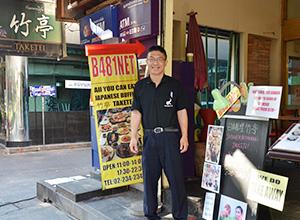 ジャパニーズレストラン「竹亭」のオーナー橋本修一さん=タイ・バンコクで小堀晋一が16年12月18日写す