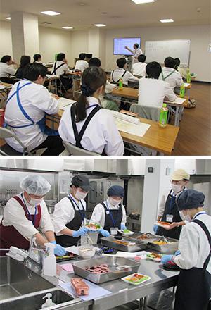 (上)惣菜セミナー(1)講義で惣菜の基礎知識と作業手順を学ぶ(下)惣菜セミナー(2)食材原価表をもとに顧客に合った弁当のコンセプト、値入率、売価を設定
