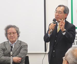 日本の小麦事情を語る笠原健一氏(右)と石田雅芳氏