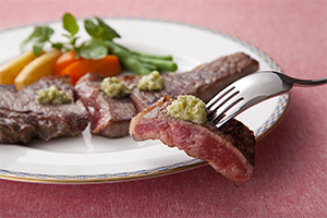 わさびに肉料理は着実に普及している