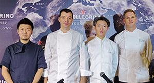 日本予選を審査する左から長谷川在佑、ルカ・ファンティン、高澤義明、トーマス・アンゲラーのシェフたち