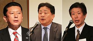 (左)藤原隆男札幌支店長 (中)藤村浩史専務営業本部長 (右)大坪正人所長