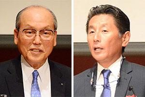 (左)尾家亮 尾家産業代表取締役会長(右)椋本充士 グルメ杵屋代表取締役社長