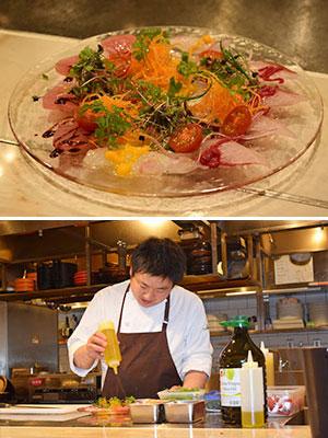 (上)柳橋中央市場本日鮮魚のカルパッチョ(下)加賀涼平シェフ