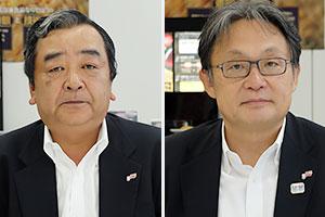 (左)日比聡取締役専務(右)吉峯英虎社長