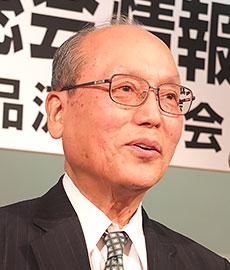 日本外食品流通協会の総会で会長としてあいさつする尾家亮氏(17年5月)