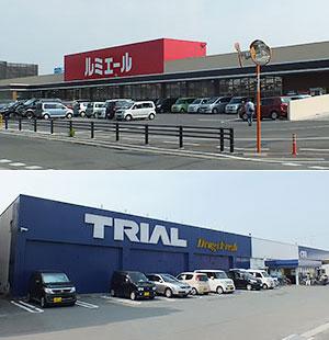 (上)ルミエールは数年に1店程度で出店(下)トライアルカンパニーは売上げ1兆円シナリオを描く