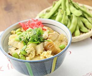 「枝豆」をテーマにした「仙台麩と豆腐の枝豆卵とじ丼」