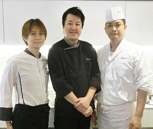 (右から)和食「鈴なり」の村田明彦シェフ、「ビストロQ」の山下九シェフ、「L'appartamento di NAOKI」の横江直紀シェフ