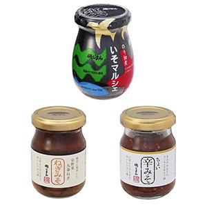 新商品群=のり佃煮「いそマルシェ」(上)と京野菜九条ねぎ「ねぎみそ」(左下)。(右下)は人気商品「ちょい辛みそ」