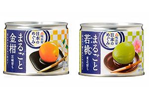 日本果実のおいしさを提案する「宮崎育ちまるごと金柑」(左)、「東北育ちまるごと若桃」