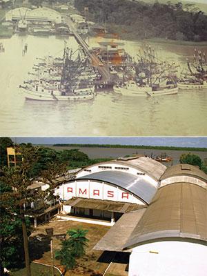 エビ船と桟橋の向こうはアマゾナス食品工業のエビ加工場(1980年代)(上)現在のアマゾナス食品工業のエビ加工場とその奥にエビ船を臨む