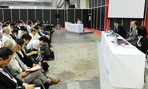 「フードディストリビューション2017」の物流セミナー「食品物流の現状と未来について」(9月13日、東京ビッグサイト)の会場は220人を超える聴講者で盛況だった