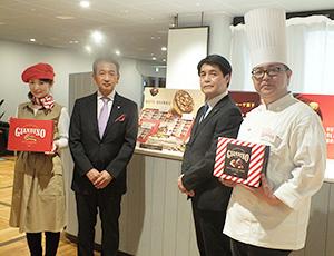比屋根祥行社長(中央左)と新会社ジャンディーノの實川宏社長(同右)