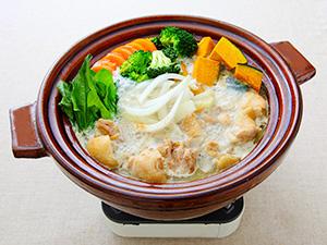 かぼちゃとブロッコリーのクリーミー鍋(野菜1日分)