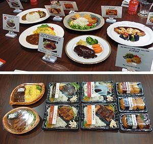 事業所給食での各メニュー提供例(上)、惣菜売場向け弁当・単品イメージ(下)