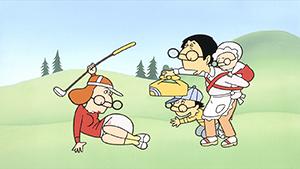 「オムニバス」篇、ゴルフを楽しむ母に差し入れするひと幕