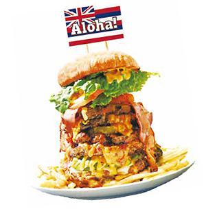 「プレミアムメガモンスターバーガー」3,800円(税抜き)「フォークとナイフで解体し、切り分けてプチハンバーガー状にしてから食べるのがお薦め」と、岑氏