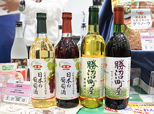 「日本の葡萄酒」(左2品)と「勝沼町産日本の葡萄酒」(右2品)