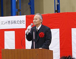 新配送センターへの思いを語る遠藤勉会長兼社長