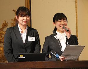 実践報告する宮城学院女子大学の森口亜美さん(左)と及川恵理菜さん