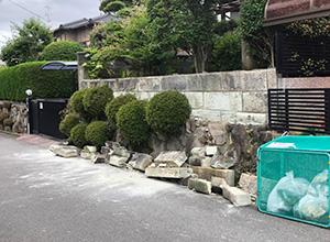 地震で崩れた石垣(枚方市内で)