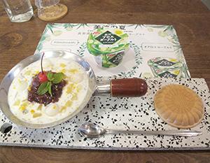 「bio ojiyan cafe 原宿本店」で提供される「七穀米とあずきのタピオカアロエヨーグルトパフェ」