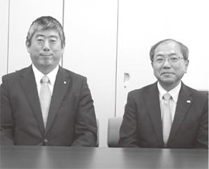 栗田春巳会長(右)、今里有利社長(左)