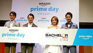 (左から)アマゾンジャパン合同会社かせ川謙本部長、ジャスパー・チャン社長、アマゾンプライム・ビデオの人気番組「バチェラー・ジャパン」出演者の倉田茉美、小柳津林太郎