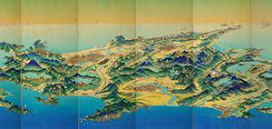 1936年に鳥瞰図絵師・吉田初三郎が描いた北海道の鳥瞰図屏風(写真提供=北海道博物館、中心部のみ切り抜き)