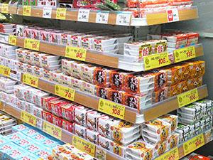 納豆の品揃えが豊富(コープふくしまの店舗)