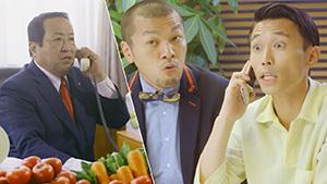 岸田一夫市長(左)と「カミナリ」が共演するPR動画