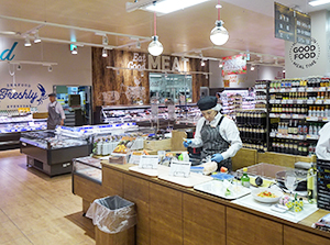 鮮魚と精肉売場をつなぐ位置にメニュー提案コーナーを配置