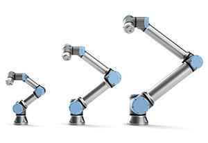 新機種の「e-Series(eシリーズ)」。左から「UR3e」(可搬質量3kg)、「UR5e」(同5kg)、「UR10e」(同10kg)