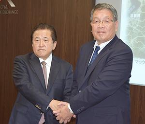 神尾啓治MV東海社長(右)と鈴木芳知MV中部社長