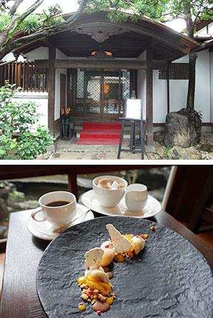 正面玄関・鴨居は150年経ても当時のまま(上)とデザート&コーヒー