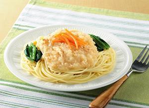 糖尿病・高血圧で食事療法が必要な人でも食べられる「練馬大根を使った練馬スパゲティ」(写真は盛り付けイメージ)
