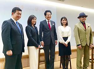 左から柿崎ゆうじ監督、竹島由夏氏、辰巳琢郎会長、三澤彩奈氏、樹林伸氏