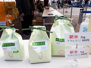 農学部祭に並んだ「特別栽培米キヌヒカリ」