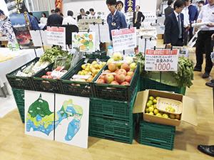 今回初めて展示された生鮮3品「青果コーナー」