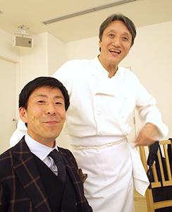 中道博シェフ(右)と川村淳也マルヒラ川村水産代表
