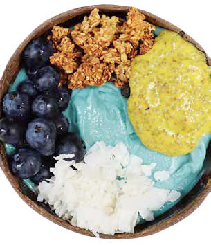 「ピナコラーダ」(10$)スピルリナとココナツのベース、トッピングはブルーベリー、ココナツ、マンゴー・ココナツ・チア・プリン、グラノーラ