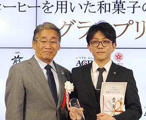 細田治全国和菓子協会会長(左)と長澤真吾氏