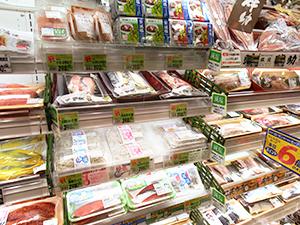 鮮魚売場の減塩コーナーはPOPで来店客にPR