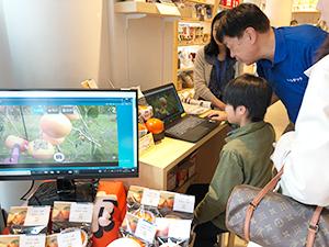 パソコン画面を見ながら収穫したい果物を選ぶ体験者
